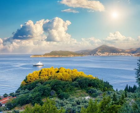 fantastic view: Fantastic view azure sea over Budva riviera in Montenegro. Dramatic morning scene in Balkans, Adriatic sea Stock Photo