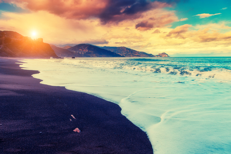 sicilia: Fantastic view of the beach Torre Conca in Cefalu. Tyrrhenian sea. Sicilia, Italy