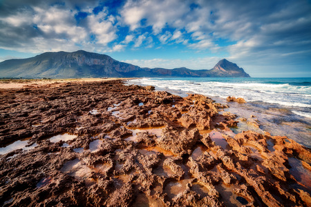 fantastic view: Fantastic view of the nature reserve Monte Cofano. Dramatic morning scene in cape San Vito. Sicilia, Italy Stock Photo