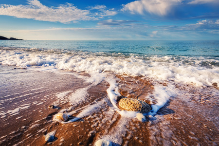sicilia: Fantastic view azure sea glowing by sunlight in Makauda, Sciacca. Sicilia, southern Italy. Stock Photo