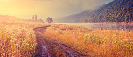 Fantastic foggy river with fresh grass in the sunlight. Dramatic unusual scene. Warm sundown on Dnister. Ukraine, Europe. Beauty world. Retro and vintage style, soft filter. Instagram toning effect. Banco de Imagens