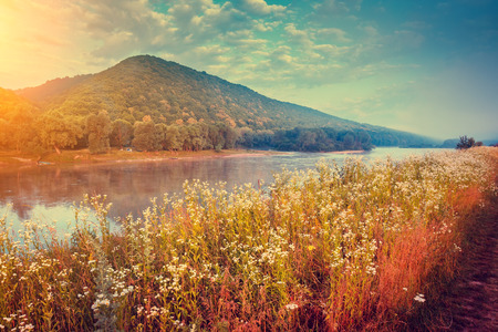 spring landscape: Fantastic foggy river with fresh grass in the sunlight. Dramatic unusual scene. Warm sundown on Dnister. Ukraine, Europe. Beauty world. Retro and vintage style, soft filter.  toning effect.