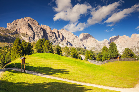 odle: View on the Puez Odle or Geisler summits, valley Gardena. National Park Dolomites, South Tyrol. Location village Ortisei, S. Cristina and Selva Gardena, Italy, Europe. Unusual scene. Beauty world
