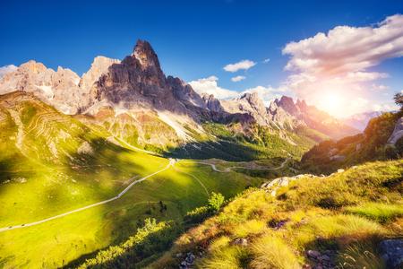 alp: Majestic view of the Cimon della Pala with passo Rolle. National Park Paneveggio. Dolomites, South Tyrol. Location Pale di San Martino. Italy, Europe. Dramatic unusual scene. Beauty world.