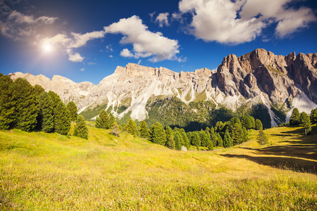 selva: Great view on the Pizes de Cir ridge, valley Gardena. National Park Dolomites, South Tyrol. Location village Ortisei, S. Cristina and Selva Gardena, Italy, Europe. Dramatic unusual scene. Beauty world