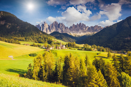 Countryside view of the Funes valley St. Magdalena or Santa Maddalena in the National park Puez Odle or Geisler. Dolomites, South Tyrol. Bolzano, Italy