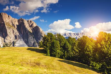 cir: Great view on the Pizes de Cir ridge, valley Gardena. National Park Dolomites, South Tyrol. village Ortisei, S. Cristina and Selva Gardena, Italy