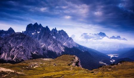 Great view of the Cadini di Misurina range and Sorapis group in National Park Tre Cime di Lavaredo. Dolomites, South Tyrol. Auronzo, Italy