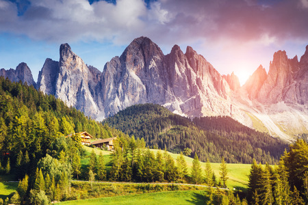 odle: Countryside view of the Funes valley St. Magdalena or Santa Maddalena in the National park Puez Odle or Geisler. Dolomites, South Tyrol. Bolzano, ItalyBeauty world.