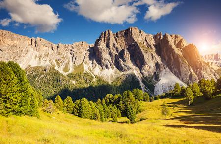 cir: Great view on the Pizes de Cir ridge, valley Gardena. National Park Dolomites, South Tyrol. Location village Ortisei, S. Cristina and Selva Gardena, Italy