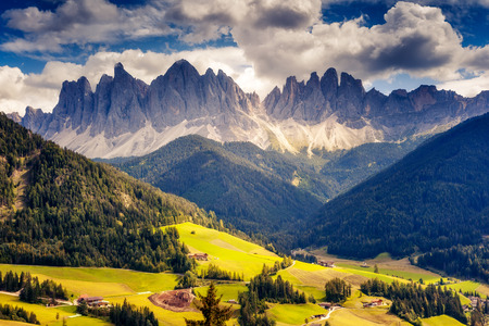 Countryside view of the valley St. Magdalena or Santa Maddalena in the National park Puez Odle or Geisler. Dolomites, South Tyrol. Bolzano, Italy