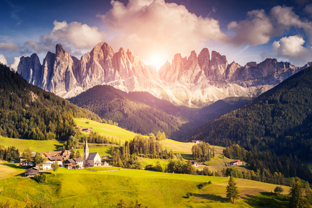odle: Countryside view of the Funes valley St. Magdalena or Santa Maddalena in the National park Puez Odle or Geisler. Dolomites, South Tyrol. Location Bolzano, Italy
