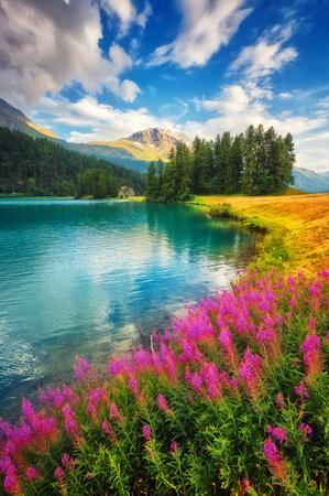 Fantastic azure alpine lake Champfer. Unusual and picturesque scene. Silvaplana village, district of Maloja in the Swiss canton of Graubunden, Alps. Stock Photo