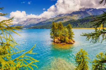 fantastic view: Fantastic view on turquoise water Silsersee lake (Sils) including Piz Corvatsch in the Swiss Alps. Location famous resort Upper Engadine valley, Canton Grisons, Europe. Artistic scene. Beauty world.