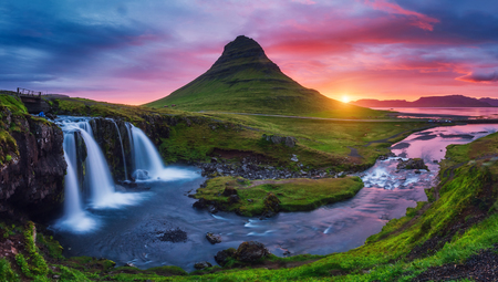 Majestic evening with Kirkjufell volcano the coast of Snaefellsnes peninsula. Dramatic and picturesque scene. Location famous place Kirkjufellsfoss waterfall, Iceland, Europe. Beauty world. Stock Photo