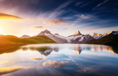 Great view of Mt. Schreckhorn and Wetterhorn above Bachalpsee lake . Dramatic and picturesque scene. Location place Swiss alps, Bernese Oberland, Grindelwald, Europe. Soft filter effect. Beauty world. Reklamní fotografie