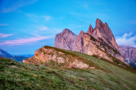 odle: Fantastic views of the magical place Funes Valley. Dramatic and picturesque scene.  Location famous resort Puez Odle National Park, Dolomiti, Seceda, South Tyrol. Italian alps, Europe. Beauty world. Stock Photo