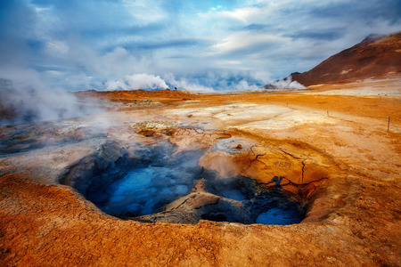 Ominous view geothermal area Hverir (Hverarond) near Lake Myvatn. Popular tourist attraction. Dramatic and picturesque scene. Location place Krafla northeastern region of Iceland, Europe. Beauty world Stock Photo