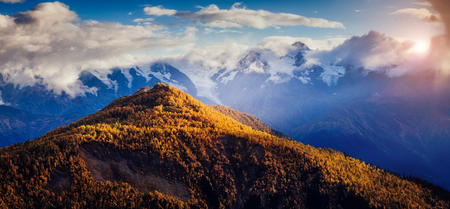 Nice views of the foot of Mt. Ushba illuminated by sunlight. Picturesque scene. Location famous place Mestia, Upper Svaneti, Georgia, Europe. High Caucasus ridge. Artistic picture. Beauty world.