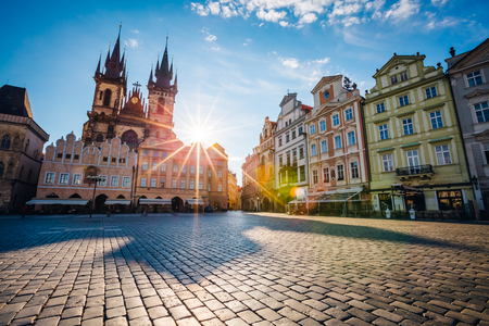 Fantastic view of the Temple of Our Lady before Tyn in sunlight at dawn. Picturesque scene. Location famous place (unesco heritage) old town square on Prague, Czech Republic, Europe. Beauty world.