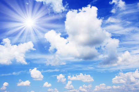 white fluffy clouds in the blue sky Stock Photo - 81568389
