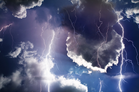 Dark ominous clouds. Thunderstorm with lightning. Stock Photo - 81609952