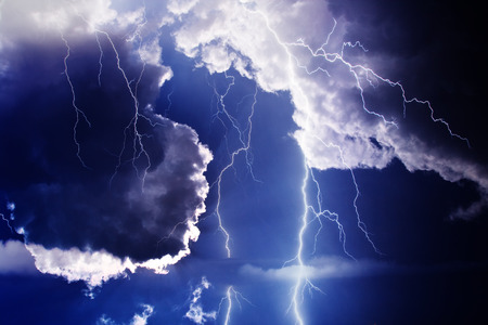 Dark ominous clouds. Thunderstorm with lightning. Stock Photo - 81609957