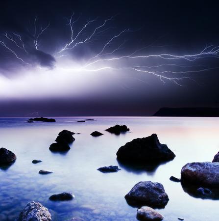 summer storm beginning with lightning Stock Photo - 81736963