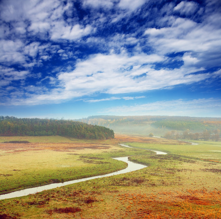 Beautiful morning landscape with the river Stock Photo