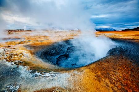 Ominous view geothermal area Hverir (Hverarond). Location place Lake Myvatn, Krafla northeastern region of Iceland, Europe. Stock Photo
