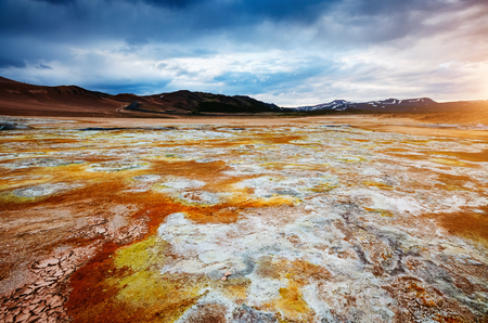 Ominous view geothermal area Hverir (Hverarond). Location place Lake Myvatn, Krafla northeastern region of Iceland, Europe. Stock Photo