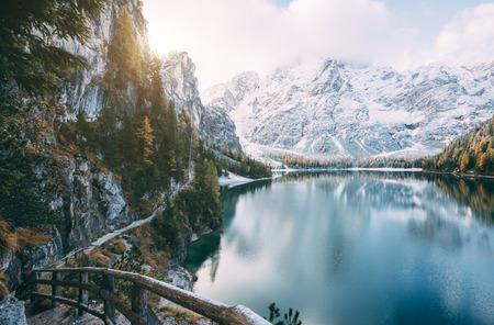 Great scene the alpine lake Braies (Pragser Wildsee). Location place Dolomiti, national park Fanes-Sennes-Braies, Italy. Stock Photo