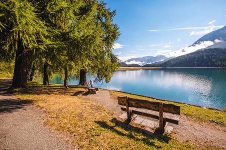 アルパインバレーの紺碧の池チャンプフェーの素晴らしい景色。ロケーションスイスアルプス、シルヴァプラーナ村、Maloja の地区、ヨーロッパ。 写真素材