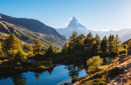 Great  panorama with famous peak Matterhorn in alpine valley. Location place Swiss alps, Grindjisee, Valais region, Europe.