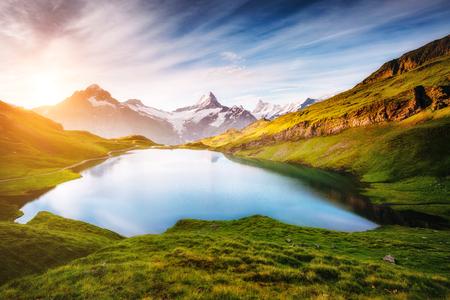 Schreckhorn と Wetterhorn 山のパノラマ。スイスアルプス、ベルンベルナーオーバーラント、グリンデルワルト、ヨーロッパに Bachalpsee 場所。