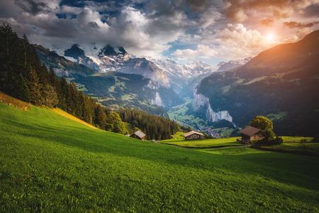 Majestic view of alpine village. Location place Swiss alps, Lauterbrunnen valley, Wengen, Bernese Oberland, Europe. Stock Photo