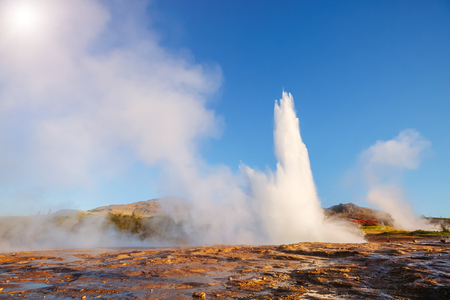 Great view of Strokkur geyser in morning light. Location place Geyser Park, Hvita river, Haukadalur valley area, Iceland.