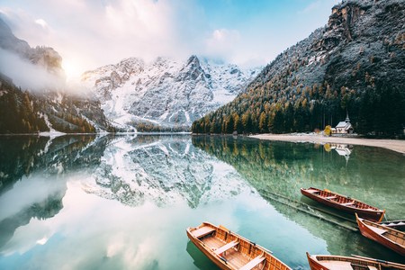 Great scene the alpine lake Braies (Pragser Wildsee). Location place Dolomite national park Fanes-Sennes-Braies, Italy.