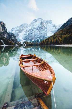 Great scene the alpine lake Braies (Pragser Wildsee). Location place Dolomiti national park Fanes-Sennes-Braies, Italy. Europe. ?ross processed retro and vintage style. Instagram effect. Beauty world.