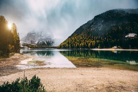 Great scene the alpine lake Braies (Pragser Wildsee). Popular tourist attraction. Location place Dolomiti, national park Fanes-Sennes-Braies, Italy. Europe. Instagram toning effect. Beauty world.