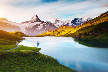 Panorama of Mt. Schreckhorn and Wetterhorn. Popular tourist attraction. Dramatic and picturesque scene. Location place Bachalpsee in Swiss alps, Bernese Oberland, Grindelwald, Europe. Beauty world. Stok Fotoğraf - 89544811
