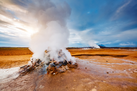 Ominous view geothermal area Hverir (Hverarond). Popular tourist attraction. Dramatic and picturesque scene. Location place Lake Myvatn, Krafla northeastern region of Iceland, Europe. Beauty world. Stock Photo