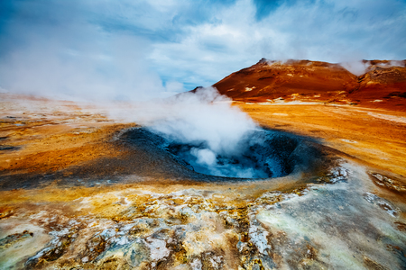 Ominous view geothermal area Hverir (Hverarond). Popular tourist attraction. Dramatic and picturesque scene. Location place Lake Myvatn, Krafla northeastern region of Iceland, Europe. Beauty world. Stock fotó