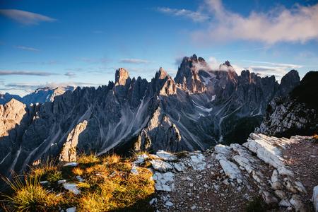 Scenic surroundings of the national park Tre Cime di Lavaredo. Dramatic and gorgeous scene. Location place Misurina range, Dolomiti alp, South Tyrol, Italy, Europe.