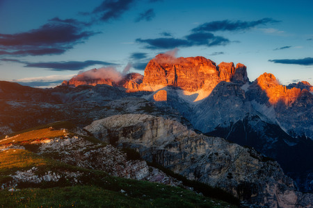 Scenic surroundings of the national park Tre Cime di Lavaredo. Dramatic and gorgeous scene. Location place Misurina, Dolomiti alp, South Tyrol, Italy, Europe.