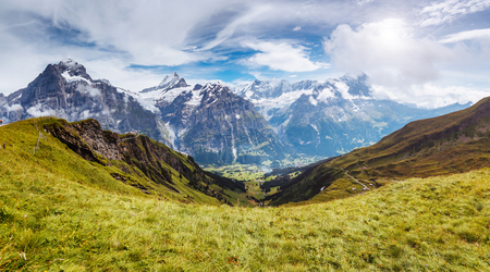 Great view of Eiger village. Picturesque and gorgeous scene. Popular tourist attraction. Location place Swiss alps, Grindelwald valley in the Bernese Oberland, Europe.