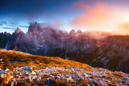 Scenic surroundings of the national park Tre Cime di Lavaredo. Dramatic and gorgeous scene. Location place Misurina range, Dolomiti alp, South Tyrol, Italy, Europe.