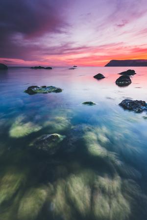 Spectacular Black Sea in the evening light. Picturesque and gorgeous scene. Location place Crimea, Ukraine, Europe. 版權商用圖片