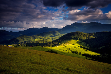 Unusual view of the alpine valley that glowing by sunlight. Dramatic scene and picturesque picture. Location place Carpathian, Ukraine, Europe.