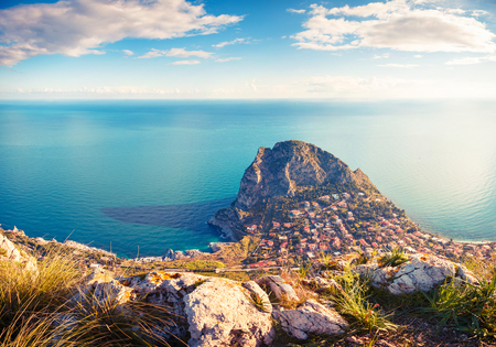 Fantastic view of the azure water on a sunny day. Picturesque and gorgeous scene. Location place Island Sicilia, Zafferano cape, Palermo sity. Italy, Europe.